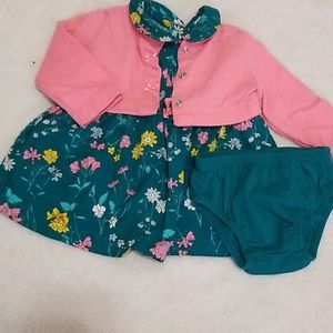 Baby girl dress with matching cardigan
